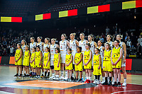 20191114 - CHARLEROI , BELGIUM : Belgian Cats Julie Allemand (55) , Billie Massey (52) , Jana Raman (42) , Heleen Nauwelaers (32) , Hanne Mestdagh (22) , Kyara Linskens (13) , Ann Wauters (12) , Emma Meesseman (11) , Laure Resimont (10) , Marjorie Carpreaux (9) , Antonia Delaere (6) and Kim Mestdagh (5) pictured before the female basketball match between the Belgian national team Belgian Cats and Ukraine , a first qualification game for the Belgian Cats in Group G towards the Women's European Eurobasket Basketball Championships 2021 in Lyon, Paris and Valencia, on Thursday 14 th November in the Dome in Charleroi , Belgium . PHOTO SPORTPIX | STIJN AUDOOREN