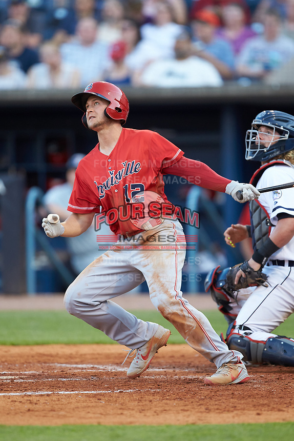 Nick Senzel (12) of the Louisville Bats follows through on his swing against the Toledo Mud Hens at Fifth Third Field on June 16, 2018 in Toledo, Ohio. The Mud Hens defeated the Bats 7-4.  (Brian Westerholt/Four Seam Images)