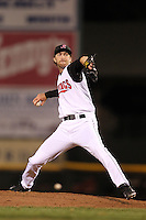 Rochester Red Wings relief pitcher Jim Hoey #22 delivers a pitch during a game against the Scranton Wilkes-Barre Yankees at Frontier Field on April 12, 2011 in Rochester, New York.  Scranton defeated Rochester 5-3.  Photo By Mike Janes/Four Seam Images