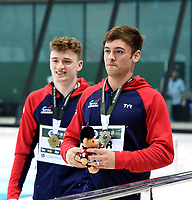 Gold medallists Tom Daley and Matty lee take a victory lap around the aquatics centre after winning the Men's 10m synchro platform<br /> <br /> Photographer Hannah Fountain/CameraSport<br /> <br /> FINA/CNSG Diving World Series 2019 - Day 1 - Friday 17th May 2019 - London Aquatics Centre - Queen Elizabeth Olympic Park - London<br /> <br /> World Copyright © 2019 CameraSport. All rights reserved. 43 Linden Ave. Countesthorpe. Leicester. England. LE8 5PG - Tel: +44 (0) 116 277 4147 - admin@camerasport.com - www.camerasport.com