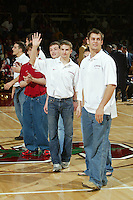 12 February 2005: Nathan Peterson and other members of the wrestling team during a men's basketball game at Maples Pavilion in Stanford, CA.