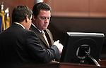Nevada Assembly Democrats Marcus Conklin, left, and Speaker John Oceguera talk on the Assembly floor Friday morning, May 6, 2011, at the Legislature in Carson City, Nev..Photo by Cathleen Allison