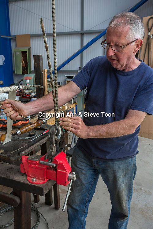 Nigel Gray, demonstrating rigging repair, Blyth Tall Ship Project, Blyth, Northumberland, UK, June 2017