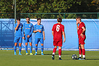 20191023 - Genk: Genk's Lucas Oyen, Faissal Boujemaoui, Elias Sierra are setting a wall and Liverpool's Leighton Clarkson (6) and the other player are getting ready for a free kick during the UEFA Youth League group stages match between KRC Genk Youth and Liverpool FC on October 23, 2019 at KRC Genk Stadium Arena B, Genk, Belgium. PHOTO:  SPORTPIX.BE   SEVIL OKTEM
