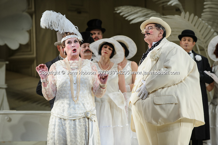 London UK. 19.11.2015. English National Opera presents THE MIKADO, by Arthur Sullivan & W. S. Gilbert, directed by Jonathan Miller, at the London Coliseum. Picture shows: Yvonne Howard (Katisha), Robert Lloyd (The Mikado of Japan). Photograph © Jane Hobson.