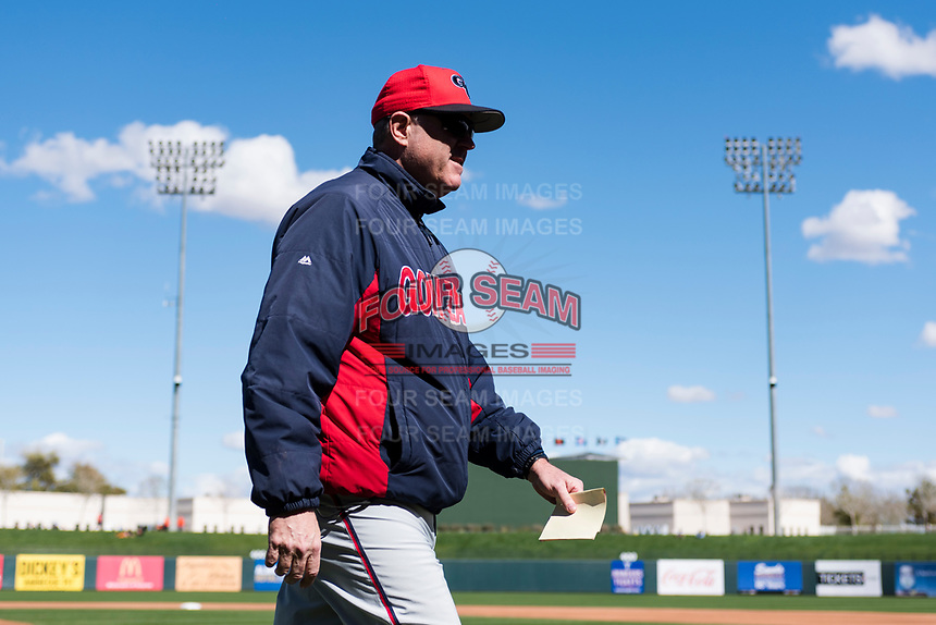 Gonzaga Bulldogs head coach Mark Machtolf walks towards the dugout before a game against the Oregon State Beavers on February 16, 2019 at Surprise Stadium in Surprise, Arizona. Oregon State defeated Gonzaga 9-3. (Zachary Lucy/Four Seam Images)