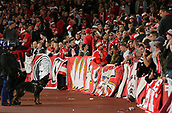 14th September 2017, Emirates Stadium, London, England; UEFA Europa League Group stage, Arsenal versus FC Cologne; FC Koln fans prepare for kick off with chanting, as Police dogs control