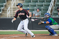 John Ziznewski (5) of the Kannapolis Intimidators follows through on his swing against the Lexington Legends at CMC-Northeast Stadium on May 25, 2015 in Kannapolis, North Carolina.  The Intimidators defeated the Legends 6-5.  (Brian Westerholt/Four Seam Images)