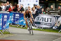 Photo: Richard Lane/Richard Lane Photography. British Triathlon Super Series, Parc Bryn Bach. 18/07/2009. .Vicki Wade cycles in the Women's Elite Race.