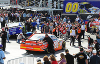 Mar. 1, 2009; Las Vegas, NV, USA; The car of NASCAR Sprint Cup Series driver Joey Logano is pushed through the garage prior to the Shelby 427 at Las Vegas Motor Speedway. Mandatory Credit: Mark J. Rebilas-
