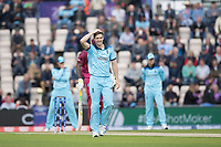 Chris Wakes (England) hand on head as Chris Gayle (West Indies) plays and misses during England vs West Indies, ICC World Cup Cricket at the Hampshire Bowl on 14th June 2019