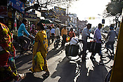 Pedestrians cross the street in Lucknow, Uttar Pradesh, India. One of the biggest states in India, UP has a population of 190 million inhabitants and could possibly be the 6th largest populated if it were a country.