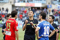 07.04.2012 SPAIN -  La Liga matchday 32th  match played between Getafe vs Sporting at Coliseum Alfonso Perez stadium (2-0). Picture show Roberto Canella Suarez and Jaime Gavilan Martinez (Midfielder of Getafe)