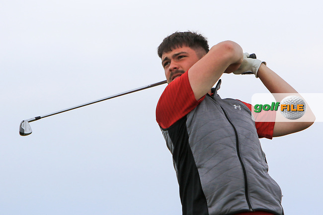 Niall Hearns (Mountrath) on the 1st tee during Round 2 of the North of Ireland Amateur Open Championship 2019 at Portstewart Golf Club, Portstewart, Co. Antrim on Tuesday 9th July 2019.<br /> Picture:  Thos Caffrey / Golffile<br /> <br /> All photos usage must carry mandatory copyright credit (© Golffile | Thos Caffrey)