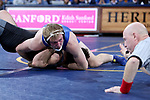 SIOUX FALLS, SD - NOVEMBER 15: Tanner Sloan from South Dakota State eyes the official as he slaps the mat for a pin against Nunzio Crowley from Binghamton during their 197 pound match Friday night at the Sanford Pentagon in Sioux Falls, SD. (Photo by Dave Eggen/Inertia)