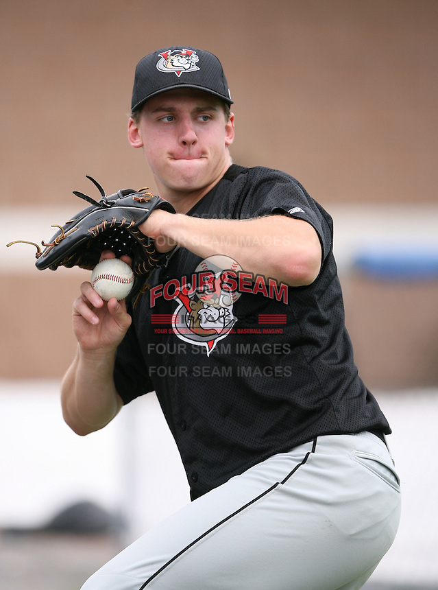 2007:  Bryan Hallberg of the Tri-City Valley Cats, Class-A affiliate of the Houston Astros, during the New York-Penn League baseball season.  Photo by Mike Janes/Four Seam Images
