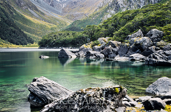 Spectacular, nephrite green Lake Mackenzie on Routeburn Track - Fiordland National Park, Southland, New Zealand