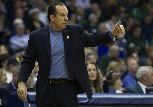January 19, 2013:  Notre Dame head coach Mike Brey during NCAA Basketball game action between the Notre Dame Fighting Irish and the Rutgers Scarlett Knights at Purcell Pavilion at the Joyce Center in South Bend, Indiana.  Notre Dame defeated Rutgers 69-66.