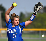 Miranda Schulte pitches for Freeburg early in the game. Breese Central High School played at Freeburg High School on Tuesday May 1, 2018. Tim Vizer | Special to STLhighschoolsports.com