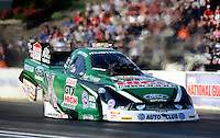 May 18, 2012; Topeka, KS, USA: NHRA funny car driver John Force during qualifying for the Summer Nationals at Heartland Park Topeka. Mandatory Credit: Mark J. Rebilas-