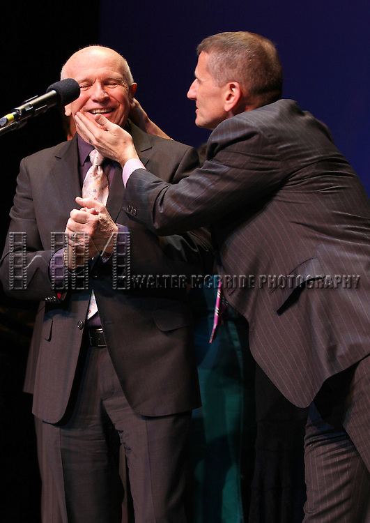 Terrence McNally & partner Tom Kirdahy.performing in 'Angela Lansbury and Friends Salute Terrence McNally' - A Benefit for the Acting Company in New York City.
