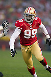 San Francisco 49ers linebacker Aldon Smith (99) plays defense during an NFC Championship NFL football game against the New York Giants on January 22, 2012 in San Francisco, California. The Giants won 20-17 in overtime. (AP Photo/David Stluka)