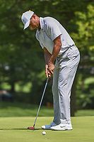 Tiger Woods (USA) sinks his par putt on 1 during 3rd round of the World Golf Championships - Bridgestone Invitational, at the Firestone Country Club, Akron, Ohio. 8/4/2018.<br /> Picture: Golffile | Ken Murray<br /> <br /> <br /> All photo usage must carry mandatory copyright credit (© Golffile | Ken Murray)