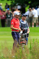 Simon Thornton (IRL) and his caddy Gary on the 10th during Round 2 of the Irish Open at Fota Island on Friday 20th June 2014.<br /> Picture:  Thos Caffrey / www.golffile.ie