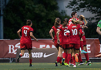 Seattle, WA - Saturday, May 14, 2016: Portland Thorns FC players celebrate a goal by forward Nadia Nadim (9). The Portland Thorns FC and the Seattle Reign FC played to a 1-1 tie during a regular season National Women's Soccer League (NWSL) match at Memorial Stadium.