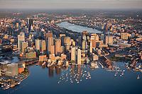 aerial, sunrise harbor waterfront with Fan Pier,  Boston, MA
