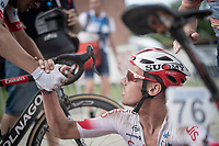 post-finish congratulations for race winner Kenneth Vanbilsen (BEL/Cofidis)<br /> <br /> Dwars door het Hageland 2019 (1.1)<br /> 1 day race from Aarschot to Diest (BEL/204km)<br /> <br /> ©kramon