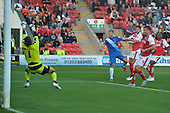 11/08/2015 Capital One Cup, First Round Fleetwood Town v Hartlepool United<br /> Nicky Featherstone shot saved by Chris Maxwell