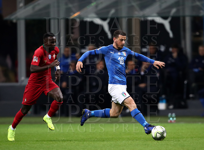 Football: Uefa Nations League Group 3match Italy vs Portugal at Giuseppe Meazza (San Siro) stadium in Milan, on November 17, 2018.<br /> Italy's Alessandro Florenzi (r) in action with Portugal's Bruma (l) during the Uefa Nations League match between Italy and Portugal at Giuseppe Meazza (San Siro) stadium in Milan, on November 17, 2018.<br /> UPDATE IMAGES PRESS/Isabella Bonotto<br /> <br /> UPDATE IMAGES PRESS/Isabella Bonotto
