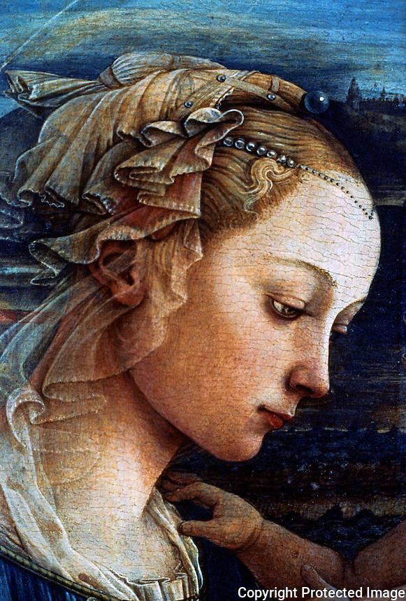 Renaissance Art:  Filippo Lippi--Our Lady Worshipping the Child.  Galleria Uffizi.