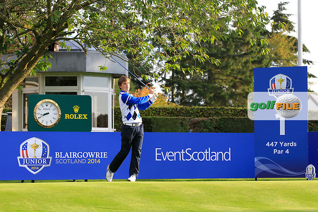 Bradley Neil (SCO) on the 1st tee during Day 2 Singles for the Junior Ryder Cup 2014 at Blairgowrie Golf Club on Tuesday 23rd September 2014.<br /> Picture:  Thos Caffrey / www.golffile.ie
