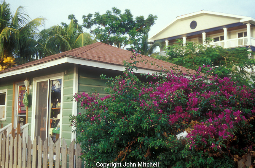 Handicrafts boutique and luxurious house on a hill in the town of West Bay, Roatan, Honduras