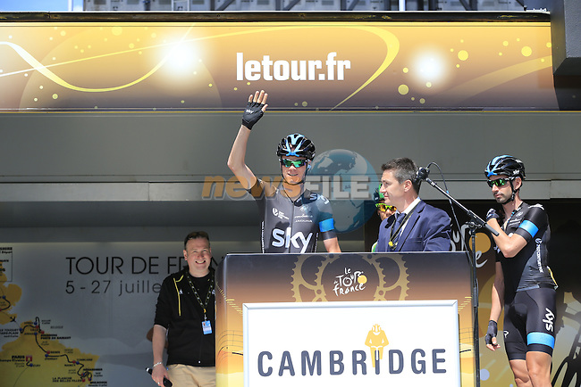 Chris Froome (GBR) Team Sky at sign on in Cambridge before the start of Stage 3 of the 2014 Tour de France running 155km from Cambridge to London. 7th July 2014.<br /> Picture: Eoin Clarke www.newsfile.ie