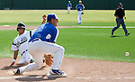 Los Altos HS at Palo Alto HS Varsity baseball, April 27, 2012.  Palo Alto wins 2-1...Nolan O'such sets up to make a play at third base.