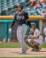 Diego Goris (8) of the El Paso Chihuahuas at bat against the Salt Lake Bees in Pacific Coast League action at Smith's Ballpark on April 30, 2017 in Salt Lake City, Utah. El Paso defeated Salt Lake 3-0. This was Game 1 of a double-header. (Stephen Smith/Four Seam Images)