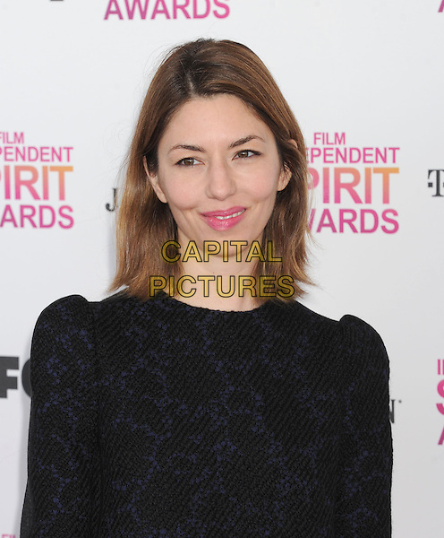 Sofia Coppola.2013 Film Independent Spirit Awards - Arrivals Held At Santa Monica Beach, Santa Monica, California, USA,.23rd February 2013..indy indie indies indys headshot portrait black navy blue patterned top  pink lipstick.CAP/ROT/TM.© TM/Roth/Capital Pictures