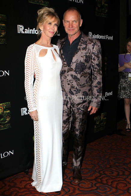WWW.ACEPIXS.COM<br /> <br /> April 2014, New York City<br /> <br /> Actress/producer Trudie Styler and singer/songwriter Sting arriving at the 25th Anniversary Rainforest Fund Benefit at Mandarin Oriental Hotel on April 17, 2014 in New York City.<br /> <br /> By Line: Nancy Rivera/ACE Pictures<br /> <br /> <br /> ACE Pictures, Inc.<br /> tel: 646 769 0430<br /> Email: info@acepixs.com<br /> www.acepixs.com