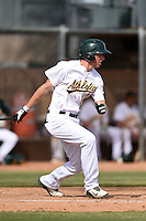 Oakland Athletics outfielder Justin Higley (17) during an Instructional League game against the San Francisco Giants on October 15, 2014 at Papago Park Baseball Complex in Phoenix, Arizona.  (Mike Janes/Four Seam Images)