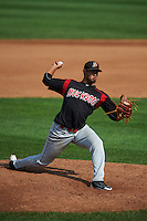 Batavia Muckdogs pitcher Jose Diaz (37) delivers a pitch during a game against the Auburn Doubledays on September 7, 2015 at Falcon Park in Auburn, New York.  Auburn defeated Batavia 11-10 in ten innings.  (Mike Janes/Four Seam Images)