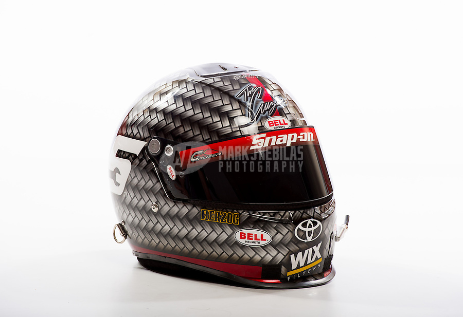 Jan 16, 2013; Palm Beach Gardens, FL, USA; Detailed view of the helmet of NHRA funny car driver Cruz Pedregon during a portrait shoot. Mandatory Credit: Mark J. Rebilas-