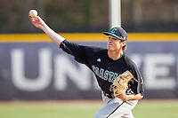 Coastal Carolina Chanticleers starting pitcher Tyler Herb (27) delivers a pitch to the plate against the High Point Panthers at Willard Stadium on March 15, 2014 in High Point, North Carolina.  The Chanticleers defeated the Panthers 1-0 in the first game of a double-header.  (Brian Westerholt/Four Seam Images)