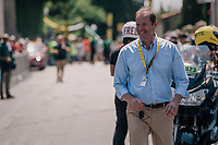 ASO president Christian Prudhomme at the stage start<br /> <br /> Stage 2: Mouilleron-Saint-Germain > La Roche-sur-Yon (183km)<br /> <br /> Le Grand Départ 2018<br /> 105th Tour de France 2018<br /> ©kramon