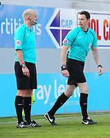 Referee Darren England, right, speaks to his assistant before disallowing a goal by Lincoln City's Elliott Whitehouse<br /> <br /> Photographer Chris Vaughan/CameraSport<br /> <br /> The EFL Sky Bet League Two Play Off Second Leg - Exeter City v Lincoln City - Thursday 17th May 2018 - St James Park - Exeter<br /> <br /> World Copyright &copy; 2018 CameraSport. All rights reserved. 43 Linden Ave. Countesthorpe. Leicester. England. LE8 5PG - Tel: +44 (0) 116 277 4147 - admin@camerasport.com - www.camerasport.com