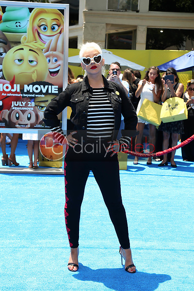 "Christina Aguilera<br /> at the premiere of ""The Emoji Movie,"" Village Theater, Westwood, CA 07-23-17<br /> David Edwards/DailyCeleb.com 818-249-4998"