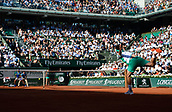 June 9th 2017, Roland Garros, Paris, France; French Open tennis championships; Mens semi-finals: Dominic Thiem (aut) losing to Rafael Nadal after 2 sets in the mens semi-final