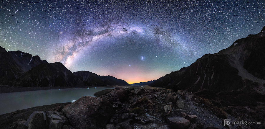 The Tasman Valley in the Aoraki/Mount Cook National Park, New Zealand, is an amazing place to visit by day, but once night falls, I can honestly say it&rsquo;s one of the most amazing night skies you will ever see. I recently spend a night under the stars there above the glacier lake. It was a spectacular view looking down the valley, especially when the Aurora Australis lit up the sky to the south. The bright band of the Milky Way spanned overhead from east to west, and there were so many shooting stars that night, I lost count - it was certainly one incredible night under the stars to remember!<br /> <br /> This 305 megapixel panoramic image is made up of 42 photos stitched together to create the final image.